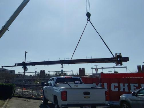 Lifting the beam and attached LTA